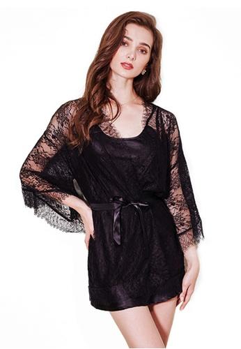 LYCKA 黑色 LCB8008-女士居家蕾絲睡衣兩件套-黑色 1DF04AA3AC08D0GS_1