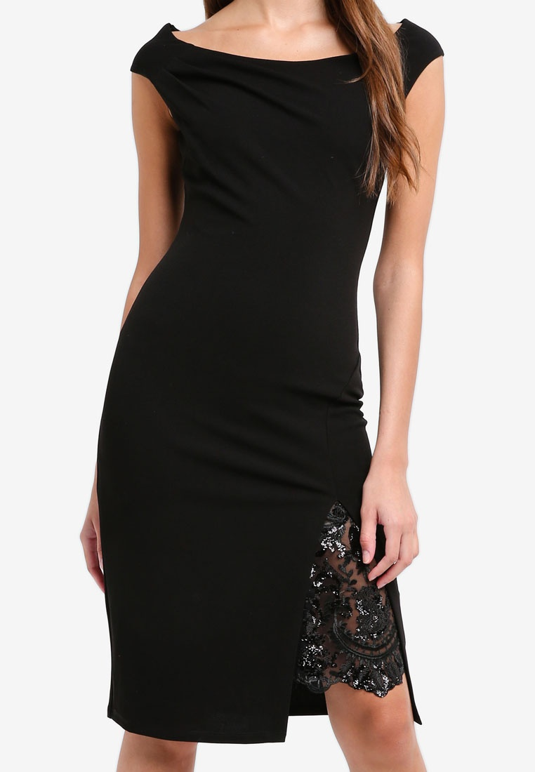 Goddiva Lace Black Shoulder Off Split The Dress Detail With Midi q8qRB5caF