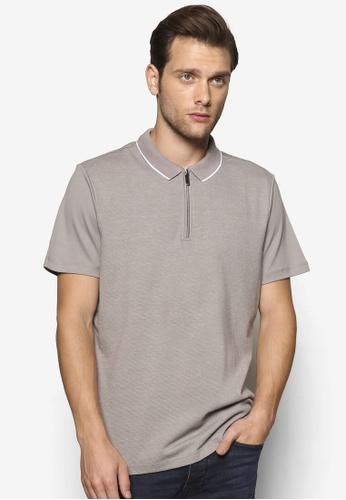 Burton Menswear London green Grey Honeycomb Zip Polo Shirt BU964AA43FCIMY_1