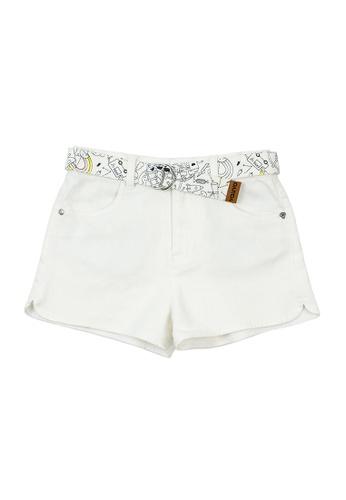 Vauva white Vauva Girls White Basic Shorts w/ Fantasy Forest Belt C762AKA02744D5GS_1