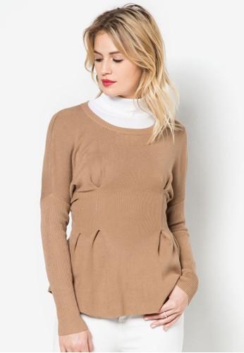 腰間褶zalora 衣服評價飾長袖針織衫, 服飾, 長褲及內搭褲