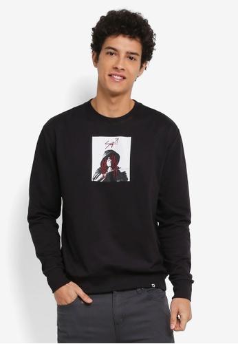 Penshoppe black Graphic Printed Sweatshirt E1EDEAA9FB2419GS_1