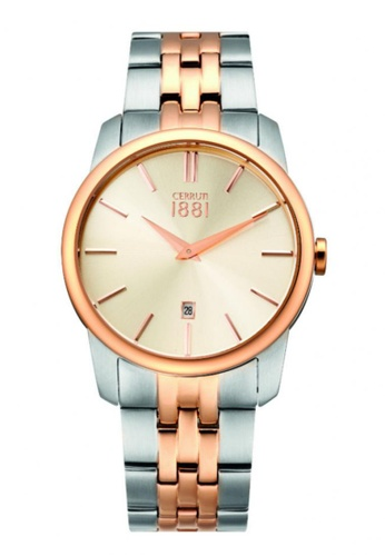CERRUTI 1881 gold Two Tone Stainless Steel IP Rose Gold Bracelet Men Watch CE514AC30QOVMY_1