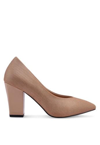 Nose 米褐色 紋理粗跟鞋 87196SHA877ABAGS_1