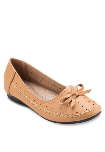 蝴蝶結沖孔平底鞋, 女鞋, 芭蕾平底esprit 衣服鞋