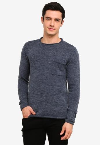 !Solid 海軍藍色 Squire 羅紋Raw Edge 針織Sweater F12DDAA314AC58GS_1