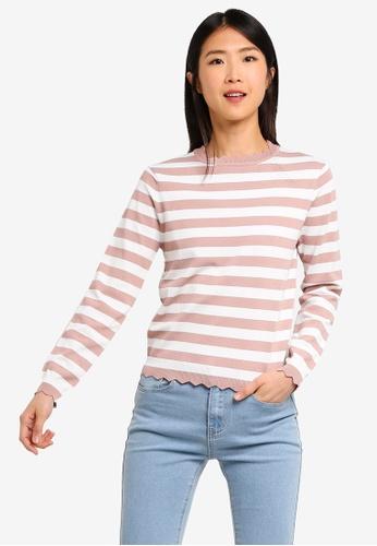 ZALORA BASICS multi Basic Striped Sweater With Scallop Details E24BCAA76184C7GS_1