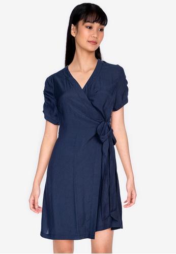 ZALORA BASICS navy Short Sleeves Wrap Dress 317BEAA58A660AGS_1