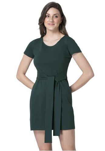 FabAlley green Green Front Tie T-Shirt Dress 1A089AA7948842GS_1