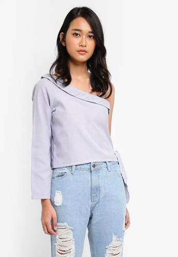 Penshoppe blue Poplin Shirt With Asymmetric Sleeves F3D91AA68988B0GS_1