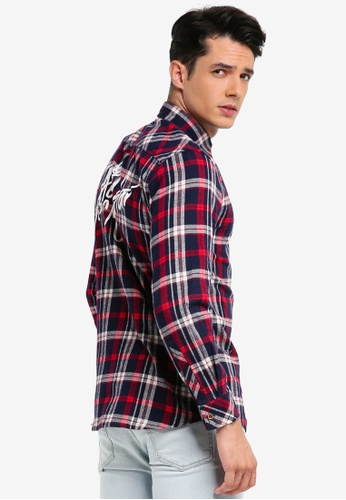 Pestle & Mortar red Third Base Flannel Long Sleeve Shirt 8E03DAA0C19BA0GS_1