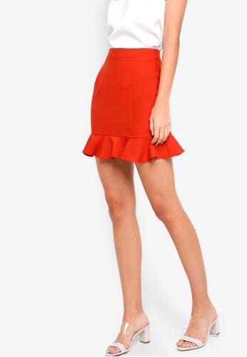 ZALORA red and orange Ruffles Mini Skirt F1A82AA96E3551GS_1