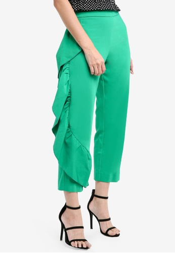 River Island green Side Frill Straight Leg Cropped Trousers 8FC47AAD328FE0GS_1