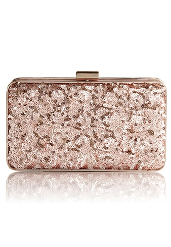 The Chic Initiative pink and gold Danielle Sequined Clutch (Rose Gold) TH778AC0T0OPMY_1