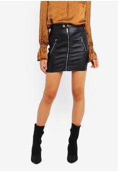 2e6c932a6a MISSGUIDED black Coated Biker Zip Detail Mini Skirt 1925CAA295F40AGS_1