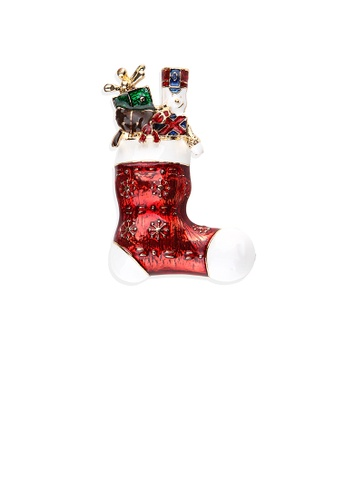 Glamorousky silver Fashion Creative Plated Gold Enamel Christmas Socks Gift Brooch EE6AAACD92332AGS_1