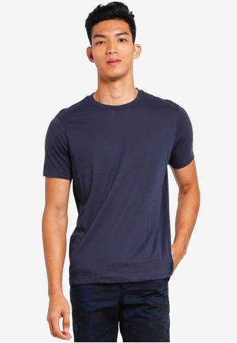 MANGO Man 藍色 素色基本T恤 72E62AA6167DAFGS_1