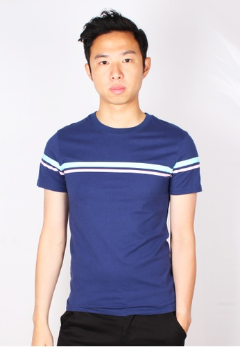 Moley navy Pastel Twin Stripe T-Shirt 69DBFAAB040464GS_1