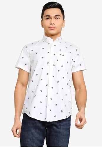 Hollister white Short Sleeve Slim Paisley Shirt 02D28AA2FF5F8EGS_1