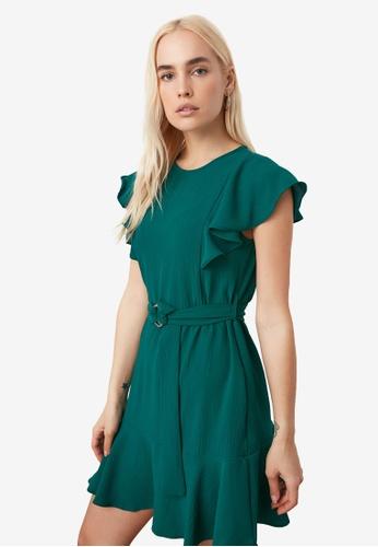 Trendyol green Belted Flutter Sleeve Dress E0BF1AA7D2A716GS_1