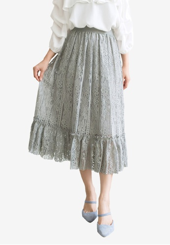 Tokichoi grey Lace Cutout Midi Skirt F3AF6AAF76BDF9GS_1