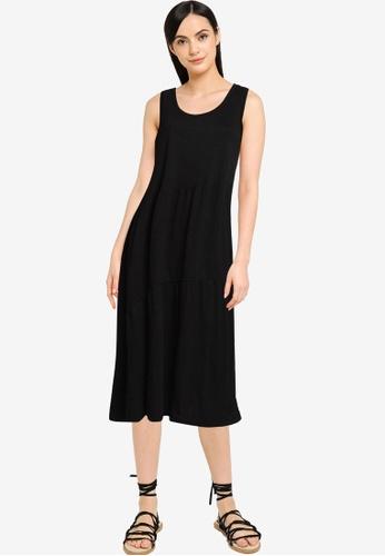 GAP black Sleeveless Tiered Midi Dress B9CB9AA70DF094GS_1