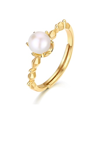 SUNSET gold Premium 925 Sliver Pearl Ring 731DBAC4838799GS_1