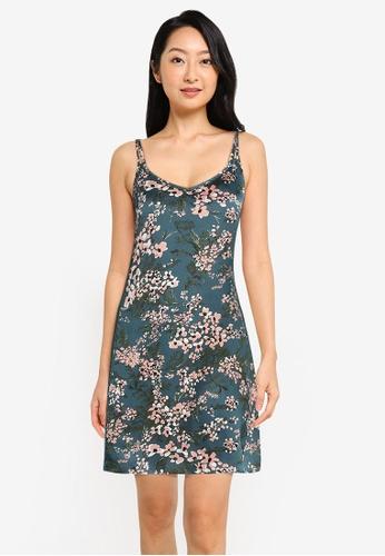 ZALORA BASICS multi Lounge Lace Trim Satin Slip Dress E368AAAE17C2EFGS_1