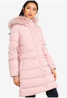 d351e64d066 Guess pink Embroidered Logo Hooded Long Down Jacket 8717FAA5457E3FGS_1