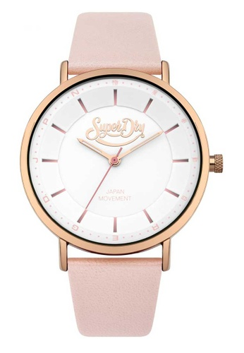 Superdry pink Superdry Oxford Pastel White, Rose Gold and Pink Leather Watch B0CF3AC78F13B5GS_1