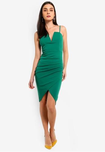 AX Paris green Green Notch Front Wrap Dress 82D16AA50B0FD6GS_1