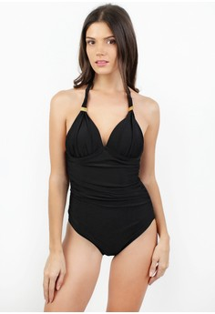 Sexy Halter Open Back One Piece Swimwear