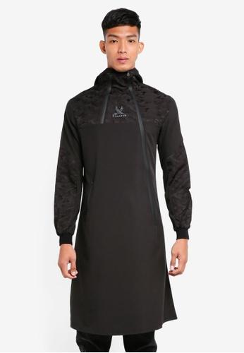 SYNDEED 黑色 長版拼接連帽上衣 36E9BAA9DC4280GS_1