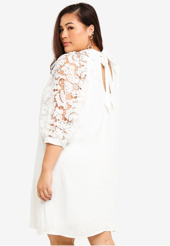 LOST INK PLUS white Plus Size Swing Dress With Lace Sleeves AE698AAAA71F04GS_1