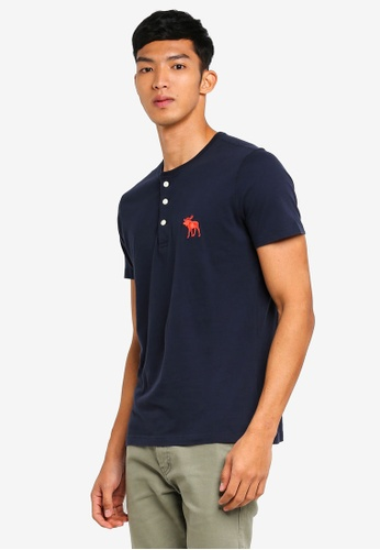Abercrombie & Fitch navy Exploded Icon Henley T-Shirt B1C59AAB007486GS_1