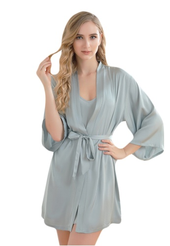 LYCKA green LCB2162-Lady Sexy Robe and Inner Lingerie Sets-Green 3047CUSB5303B0GS_1