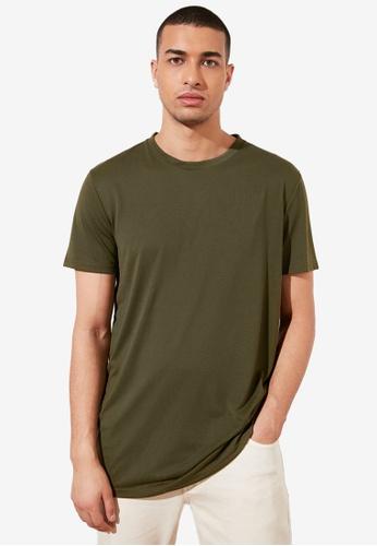 Trendyol green Basic Crew Neck Longline T-Shirt 96D0BAA262FAF0GS_1