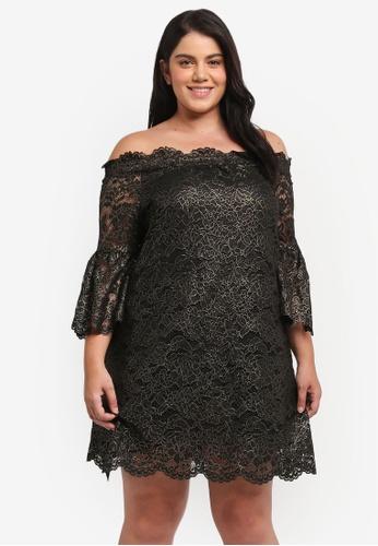 ELVI black Plus Size Black Gold Bardot Lace Dress EL779AA0T1PAMY_1