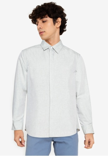 ZALORA BASICS green Classic Collar Shirt 98CF5AA786EF1AGS_1