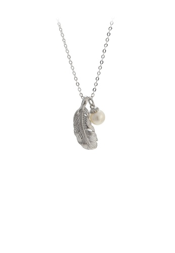 Glamorousky white 925 Sterling Silver Fashion Elegant Leaf White Freshwater Pearl Pendant with Necklace 4095AAC0145479GS_1