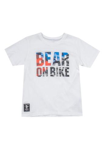Giordano white Bear On Bike Print Tee Junior 7B78DKAD2F680CGS_1