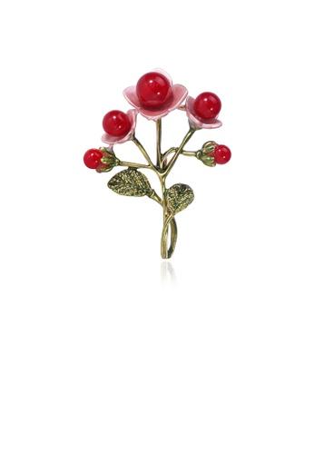 Glamorousky red Fashion Elegant Flower Red Imitation Pearl Brooch 1D2ADAC175EFAEGS_1