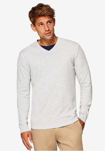 ESPRIT 灰色 V領針織衫 0F2EDAAB030F02GS_1
