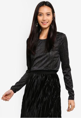 a68cff602e354 Shop Pieces Laila Long Sleeve Lurex Top Online on ZALORA Philippines