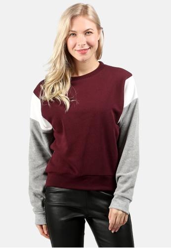 London Rag red Color Block Sweatshirt A7236AAD8E4038GS_1
