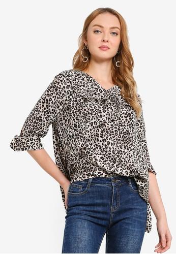 Hopeshow multi Leopard Print Ruffle Collar Blouse 1AB49AA78C7413GS_1