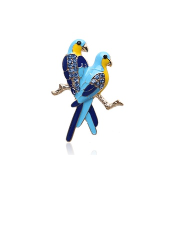 Glamorousky blue Fashion and Elegant Plated Gold Enamel Blue Double Bird Brooch with Cubic Zirconia 7215BACD35439DGS_1