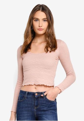 Miss Selfridge pink Pink Long Sleeve Pointelle Scoop Neck Top F7689AA29FC3DFGS_1