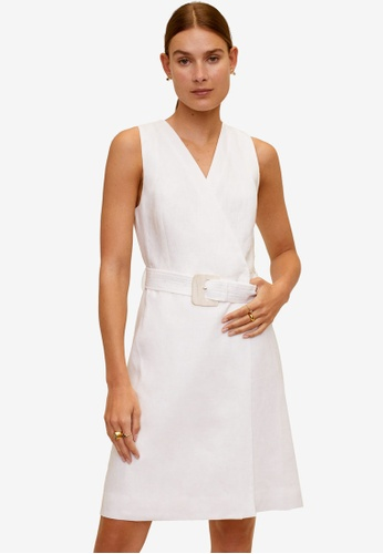 Mango white Belt Linen Dress B22E8AA14E1B4DGS_1