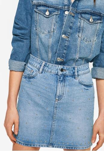 Mango blue Studded Denim Skirt 677B0AA957D391GS_1